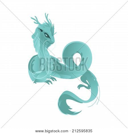 vector flat cartoon colored blue majestic mythical dragon with horns and wings. Legendary mystery animal creature. Isolated illustration on a white background.