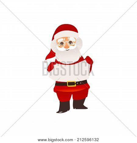 Funny Santa Claus in glasses holding blank, empty board, poster, place for text, flat cartoon vector illustration isolated on white background. Santa Claus character holding empty board, poster, board