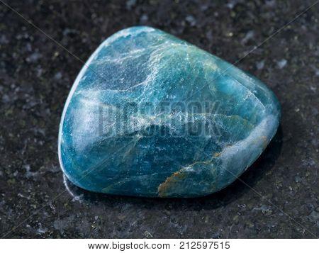 Polished Green Blue Apatite Gemstone On Dark