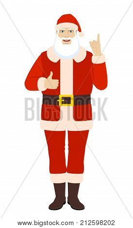 Santa Claus pointing up and showing thumb up. Full length portrait of Santa Claus in a flat style. Vector illustration.