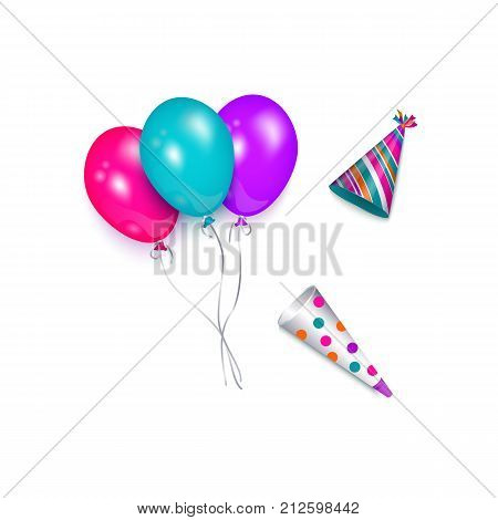 vector cartoon birthday party celebration symbols set. Colored party hats and colorful air balloons. Isolated illustration on a white background.