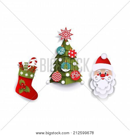 Paper cut Christmas tree, stocking and Santa Claus head, decoration elements, flat vector illustration isolated on white background. Flat, paper cut Santa Claus, Christmas tree and stocking decoration