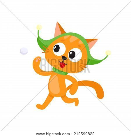 Cute little cat character playing, throwing snowball in hat and scarf, winter activity, cartoon vector illustration isolated on white background. Little baby cat, kitten character playing snowballs