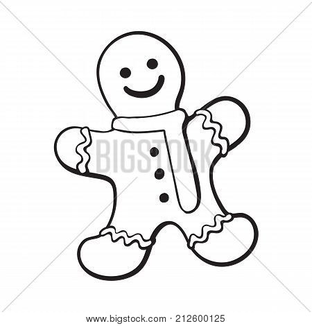 Glazed gingerman-shaped homemade Christmas gingerbread cookie, sketch style vector illustration isolated on white background. black and white gingerbread cookie in shape of smiling gingerman