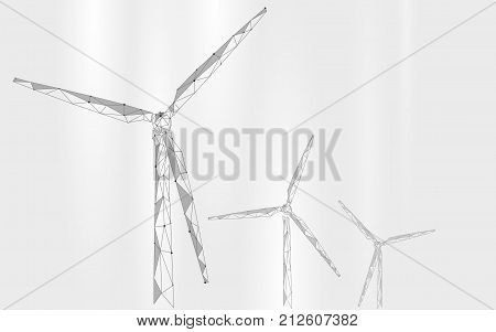 Wind generator low poly abstract background. Save ecology green energy electricity business concept. Windmill tower white gray sky clouds landscape polygonal geometric vector illustration art