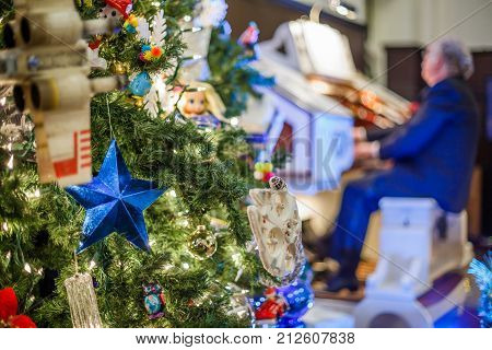 Closeup of decorated Christmas tree at hall