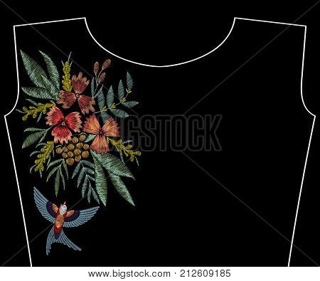 Embroidery swallow with  flowers, berries, plants. Patch for fashion neckline, pattern for apparel decoration