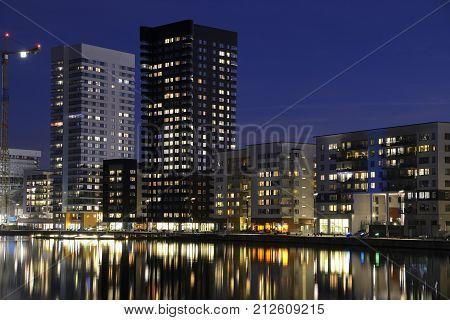 Modern apartment buildings, Liljeholmen in Sweden .