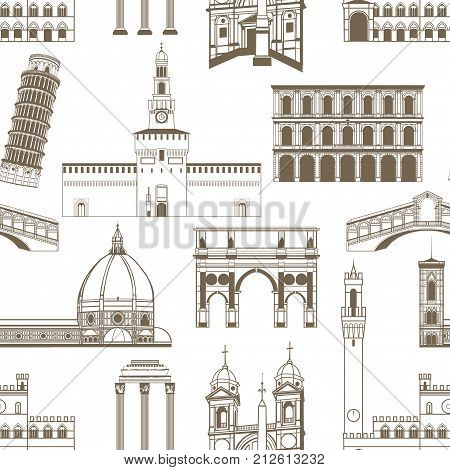 Seamless Pattern with Famous Italian Landmarks. Hand Drawn Background for Web Banners Cards. Vector Illustration of Famous Historical Buildings