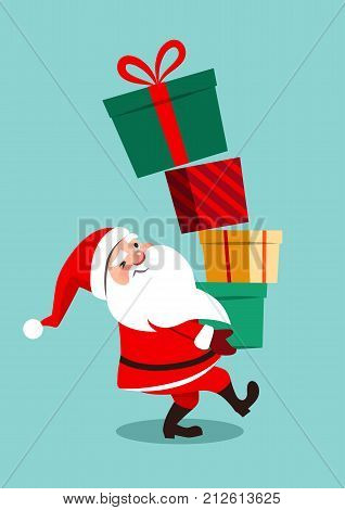 Vector cartoon illustration of funny anxious looking Santa Claus carrying a tall stack of colorful gift boxes the topmost boxes off balance starting to fall down isolated on aqua blue background.