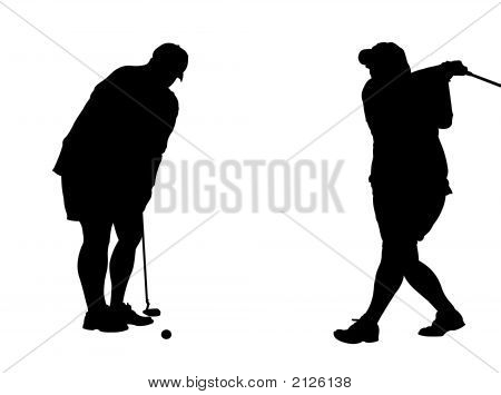 Two Golf Silhouettes