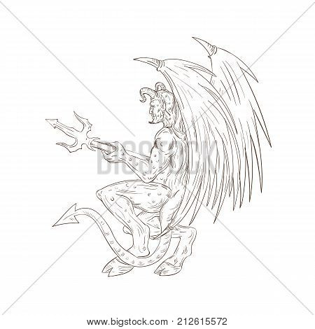 Drawing sketch style illustration of a demon, satan, devil or horned monster with bat wings holding a trident pitchfork viewed from side.