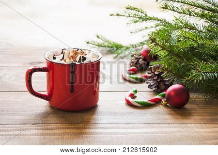 Red Cup Of Hot Chocolate With Marshmallow On Windowsill. Weekend Concept. Home Style. Christmas Morn