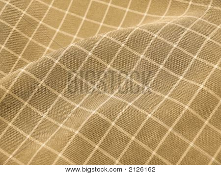 Pleated Checkered Fabric Closeup - Series - Brown, Sepia. Christmas. Good For Background.