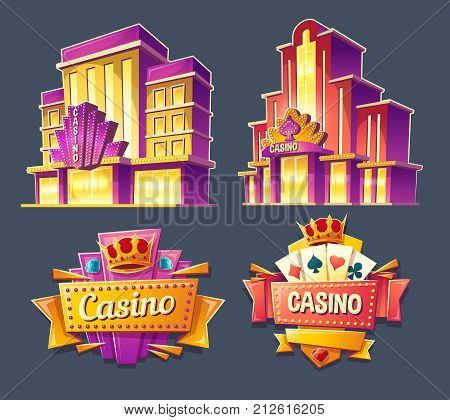 Set of vector cartoon badges, stickers, tags of casino buildings and retro signboards. Icons for mobile applications with games of chance, advertising banners for gambling business in a vintage style.