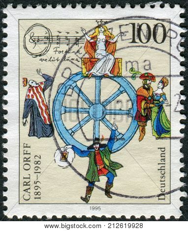GERMANY - CIRCA 1995: Postage stamp printed in Germany dedicated to the 100th anniversary of the composer Carl Orff circa 1995