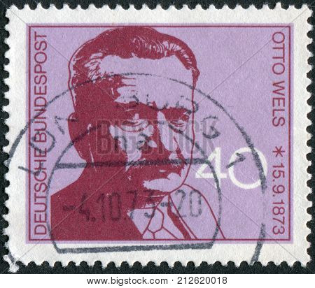 GERMANY - CIRCA 1973: Postage stamp printed in Germany shows the Leader of German Social Democratic Party (SPD) Otto Wels circa 1973