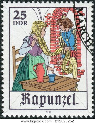 GERMANY (DDR) - CIRCA1978: Postage stamp printed in Germany shows a scene from a fairy tale by the Brothers Grimm Rapunzel circa 1978