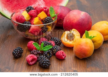 some Mixed fruit salad with fresh fruit