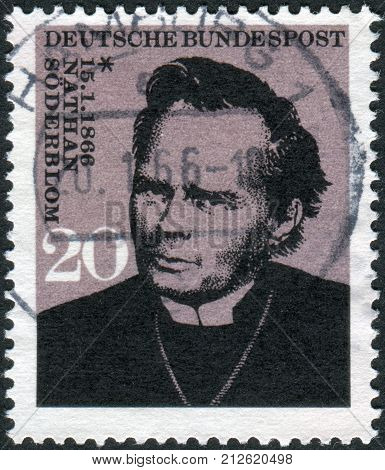 GERMANY - CIRCA 1966: Postage stamp printed in Germany shows a Swedish clergyman Archbishop of Uppsala in the Church of Sweden and recipient of the 1930 Nobel Peace Prize Nathan Soederblom circa 1966