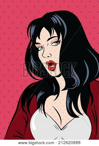 Illustration of a pop art woman in red.