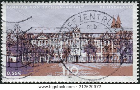 GERMANY - CIRCA 2001: Postage stamp printed in Germany Issue: Parliaments of the federal states in Germany shows State diet of Saxony-Anhalt Magdeburg circa 2001
