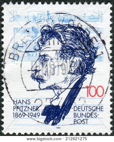 GERMANY - CIRCA 1994: Postage stamp printed in Germany shows a portrait of Hans Pfitzner conductor composer circa 1994