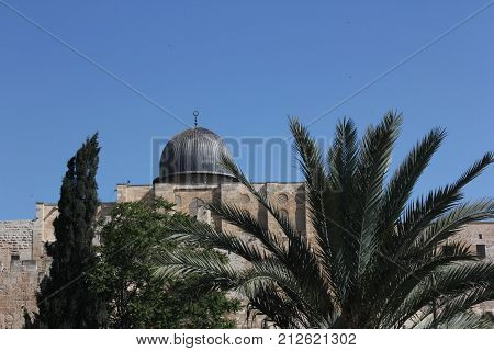 The Al-Aqsa Mosque in Jerusalem, Israel.  Located near the Westerner Wall or the Wailing Wall..