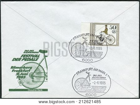 GERMANY - CIRCA 1985: Envelope and postage stamp with the stamp of the first day printed in Germany (West Berlin) depicted Antique Bicycles: Bussing bicycle 1868 circa 1985
