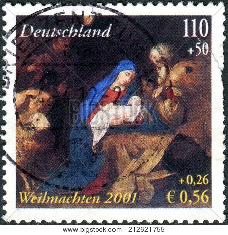 GERMANY - CIRCA 2001: A postage stamp printed in Germany shows Adoration of the Shepherds by Jusepe de Ribera circa 2001