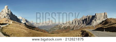 Beautiful wide angle view of Dolomites Pass Giau Alps Italy in Autumn