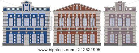 Vector classical european architecture buildings houses. Moscow architecture buildings houses. Classicism style buildings houses Moscow architecture. Traditional vector buildings architecture