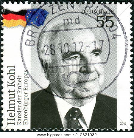 Germany - Circa 2012: Postage Stamps Printed In Germany, Shows Helmut Kohl - Chancellor Of The Unity