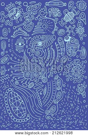 Surreal doodle alien on space. Vector illustration.