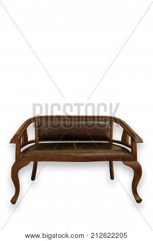 vintage brown bench on white background, front view