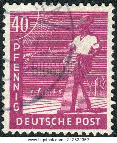GERMANY - CIRCA 1947: Postage stamp printed in Germany shows the sower circa 1947