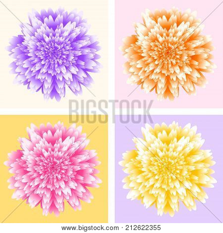 Four chrysanthemum flowers in pop art style. Abstract fururistic background with random layered texture. Fantastic flower vector illustration. Abstract burst vector. Pop art poster.
