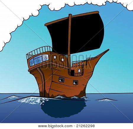 pirate ship sailing ahead