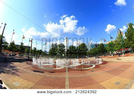 Atlanta Georgia USA - August 18 2017: Centennial Olympic Park. The park commemorates the 1996 Atlanta Olympics and is a popular attraction.
