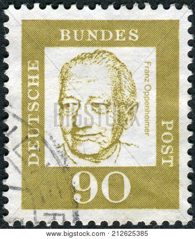 GERMANY - CIRCA 1964: Postage stamp printed in Germany shows portrait Franz Oppenheimer circa 1964