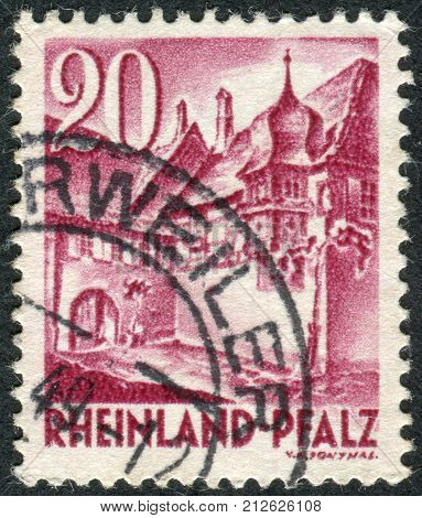 GERMANY - CIRCA 1948: Postage stamp printed in Germany (Rhineland-Palatinate French occupation zone) shows a Street Corner Sankt Martin circa 1948