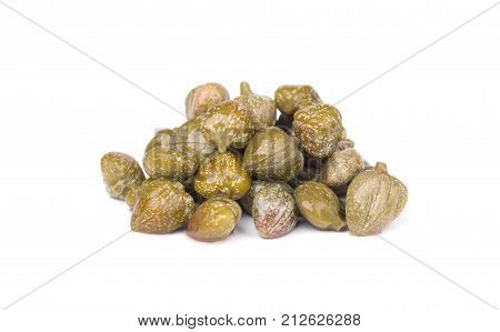 Capers isolated on white background. Canned capers