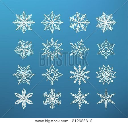 Snowflake winter isolated. Set of flake of snow on dark blue background. Christmas ice stars, line icons. Vector illustration