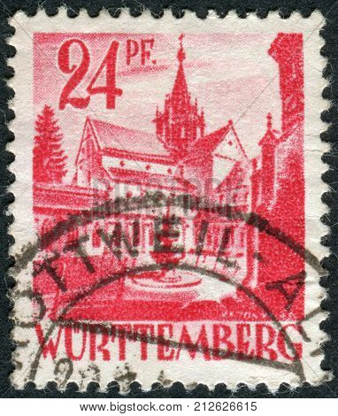 GERMANY - CIRCA 1947: Postage stamp printed in Germany (Wurttemberg-Hohenzollern French occupation zone) shows Castle of Bebenhausen (Bebenhausen Abbey) circa 1947