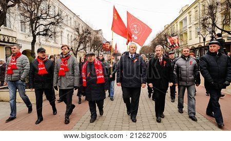 Orel, Russia, November 7, 2017: October Revolution Anniversary Meeting. Orel Government Members Marc