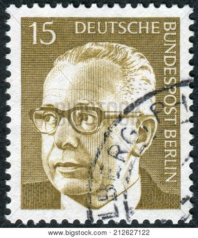 GERMANY - CIRCA 1972: Postage stamp printed in Germany (West Berlin) shows the 3rd President of the Federal Republic of Germany Gustav Walter Heinemann circa 1972