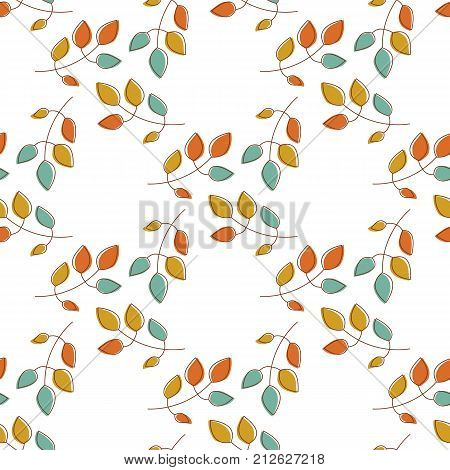 Seamless autumn leaves pattern. Floral background. Stock vector