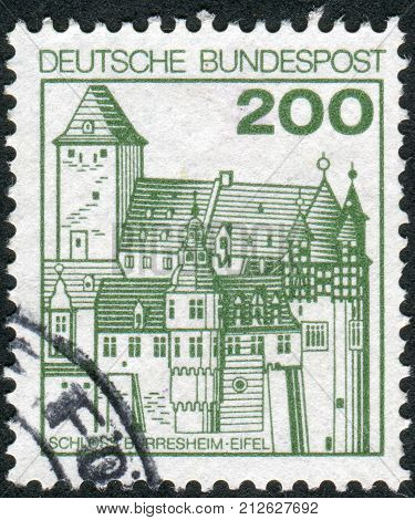 GERMANY - CIRCA 1977: Postage stamp printed in Germany shows Burresheim Castle circa 1977