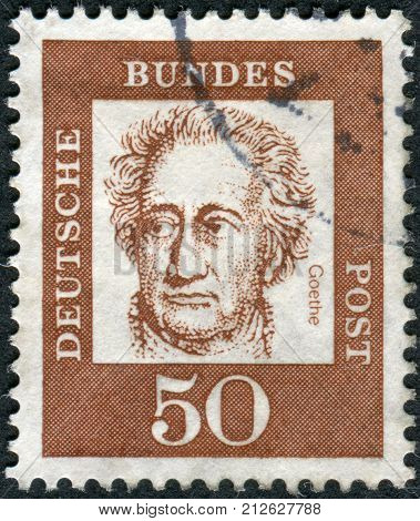 GERMANY - CIRCA 1961: Postage stamp printed in Germany shows portrait of Johann Wolfgang von Goethe circa 1961