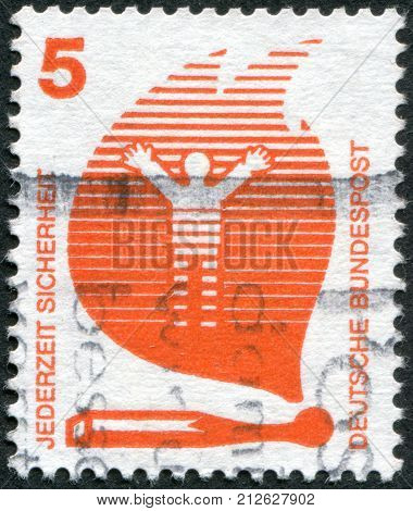 GERMANY - CIRCA 1971: Postage stamp printed in Germany Prevent accidents Issue shows Matches Cause Fires circa 1971